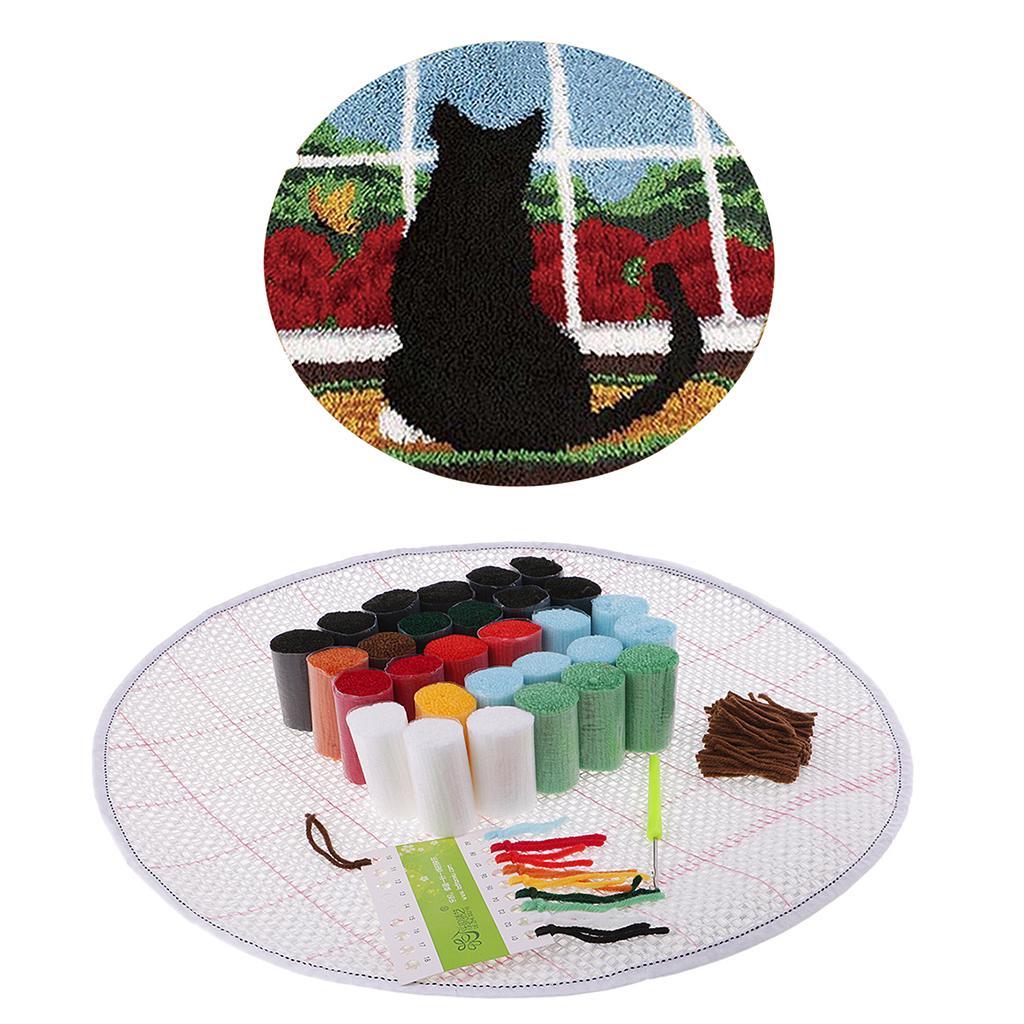 Black Cat Latch Hook Rugs for Kids Rug Making kit