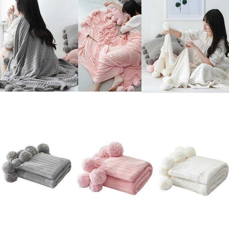Cotton Knitted Blanket Pom Pom Sofa Bed Throw Couch Settee Towel Home Decor NR9