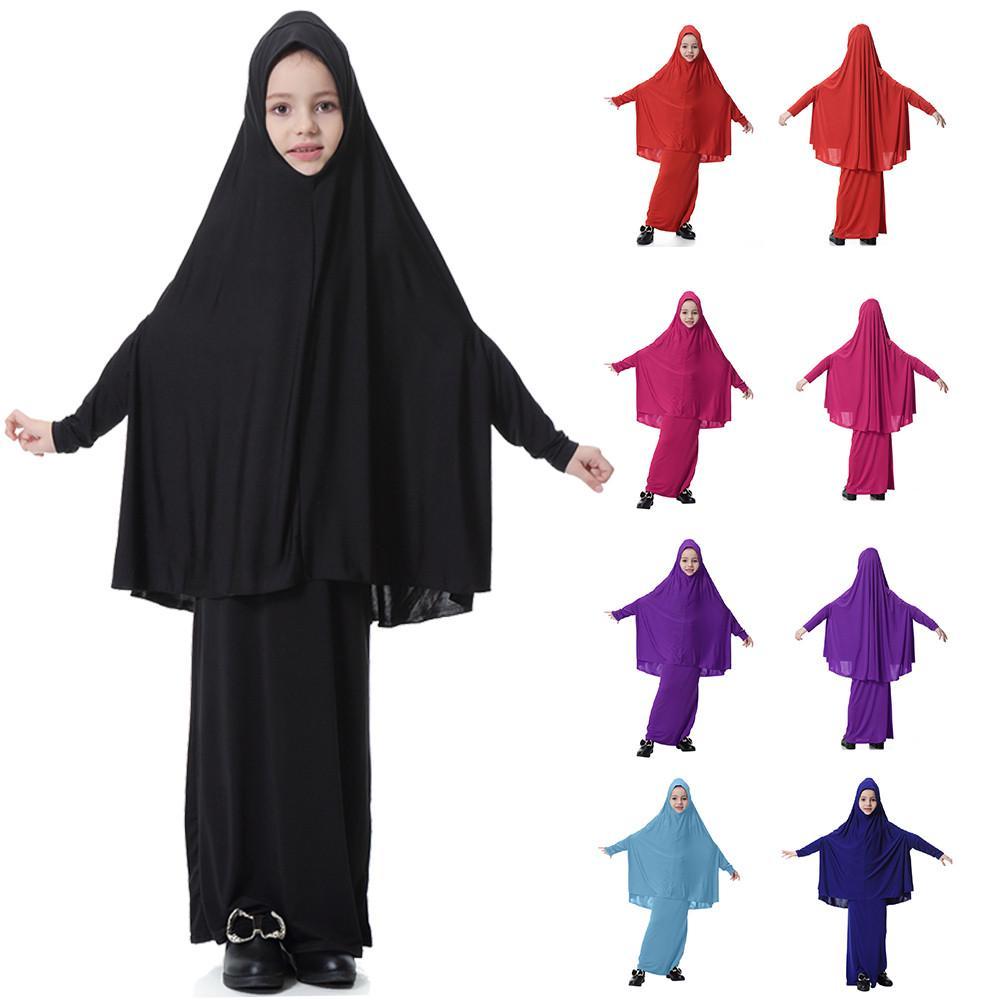 5-9T Muslim Kids Girls Batwing Sleeve Dresses Tops Solid Traditional Abaya Tunic Long Dress 2pcs Outfits Set