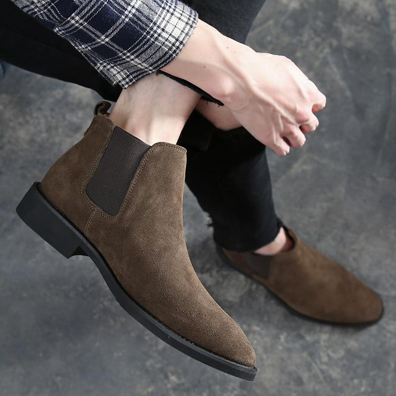 Mens Suede Leather Chelsea Ankle Boots Casual Shoes Black Brown Size 6.5-10-15
