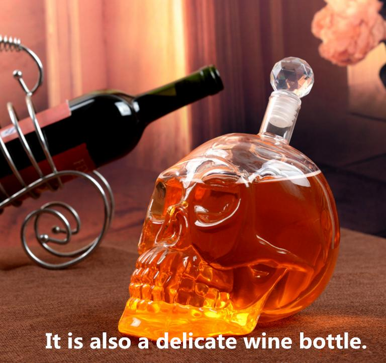 1PCS Crystal Skull Head Glass Bottle Wine Glass Bottles Unique Design Bottle