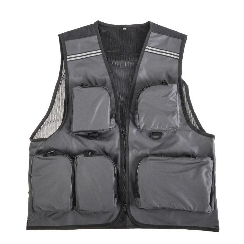Womens Mens Mesh Utility Vest Jacket Waistcoat Fishing Gilet Multi Pocket Unisex