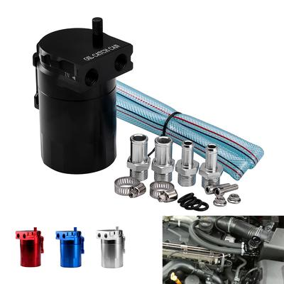 Aluminum Engine Black Baffled Oil Catch Can Tank Reservoir Breather With  Fittings Solid