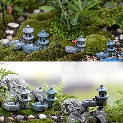 Mini Retro Pond Tower Resin Craft Fairy Garden Decor Figurines