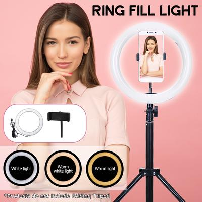 Mini Led Camera Ring Light for Live Pink 10.2 Selfie Ring Light,Fill light Dimmable with Tripod Stand and Cell Phone Holder
