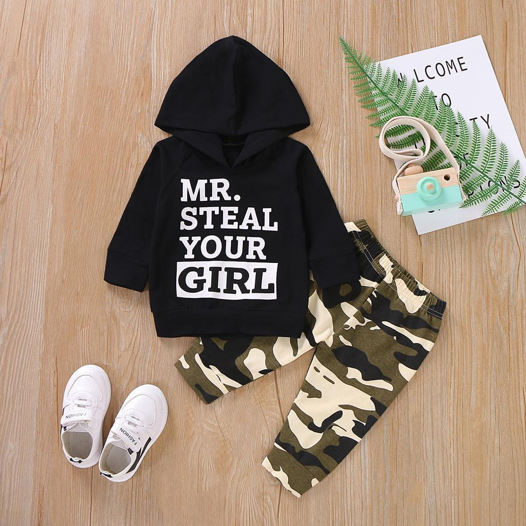 Infant Newborn Baby Boy Girl Camouflage Hoodie Pants Outfit Clothing Set Winter Warm Clothes