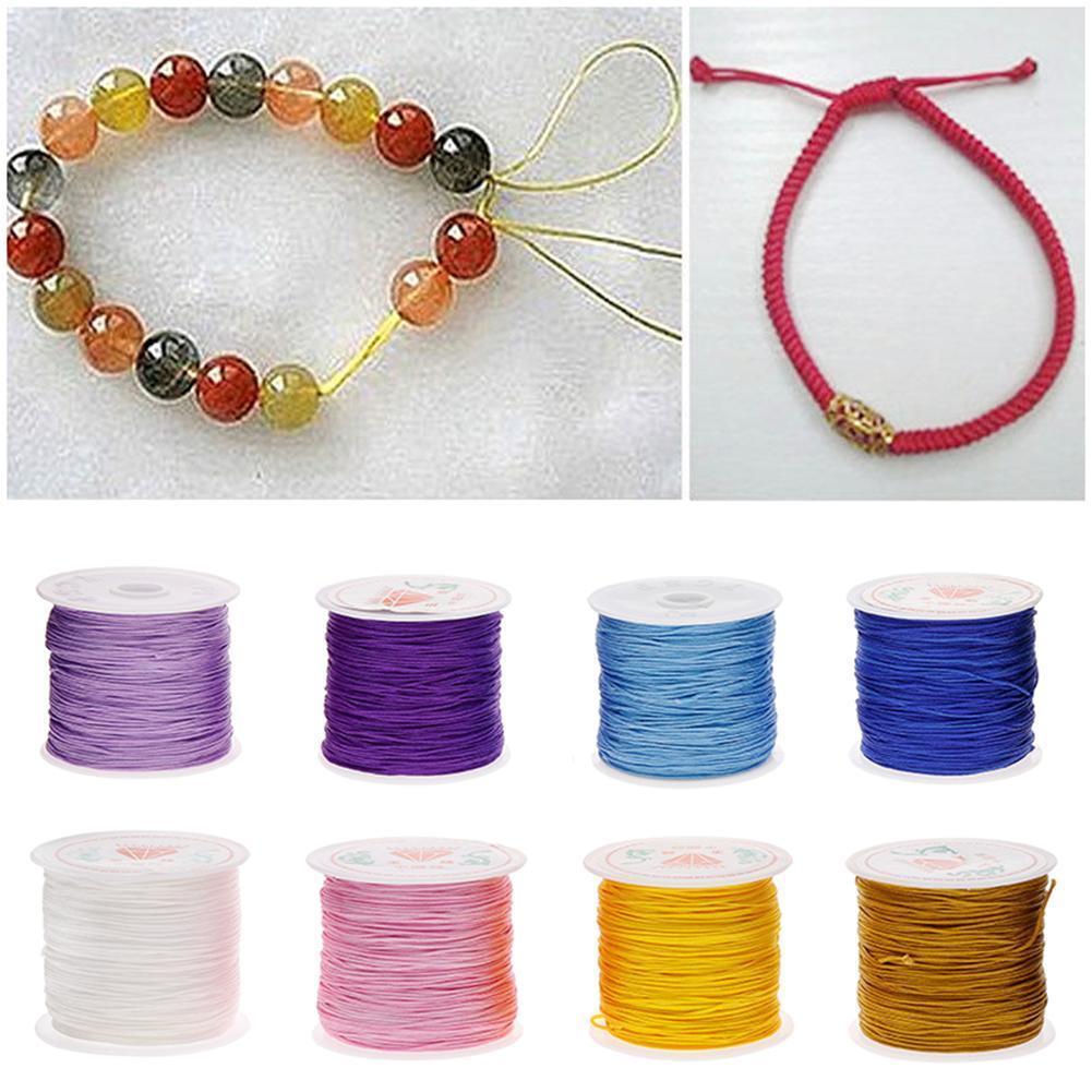 1 Roll 0.8mm Nylon Cord Thread Chinese Knot Macrame Bracelet Braided String 45M