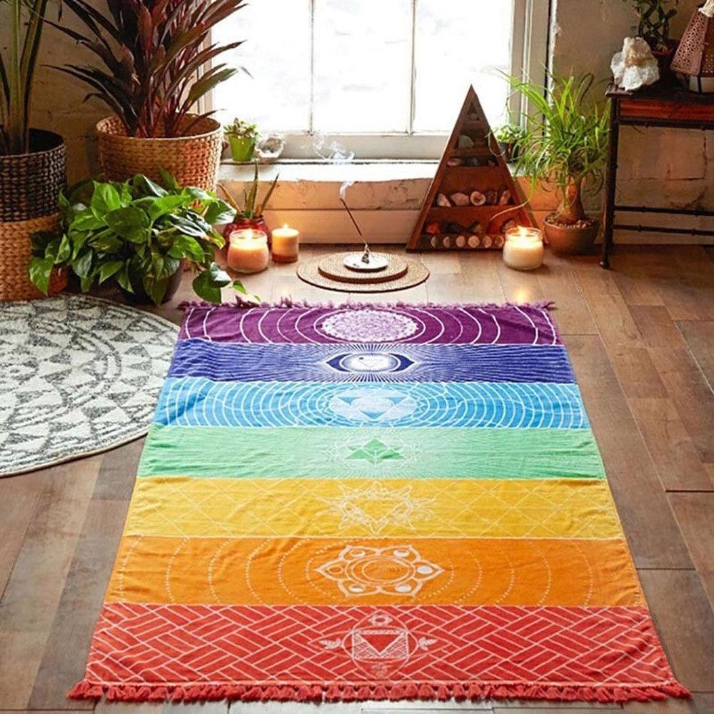 Shawl Hippie Multicolored Towel Mandala Tapestry Yoga Mat Beach Blanket