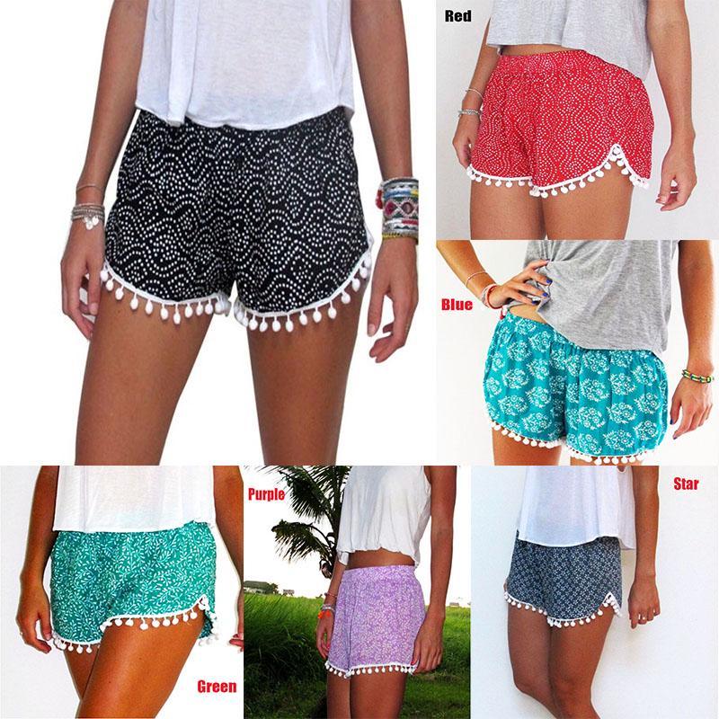 Women Casual Plus Size Pure Color Mid Waist Lace Hot Shorts Elastic Sports Pants