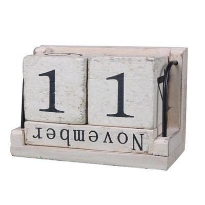Flip Calendar Perpetual Desk Calendar Desktop Vintage Ornaments for Office Rustic Wooden Home