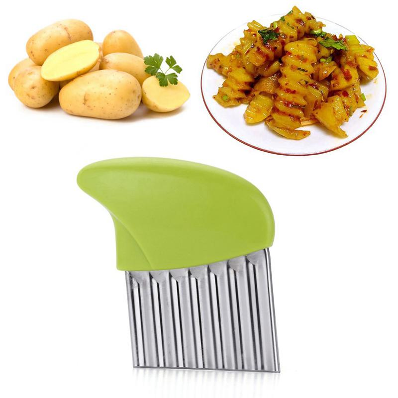 Stainless Steel Potato Chippers Cutters Wavy Durable Slicer Chipper Hotel Home