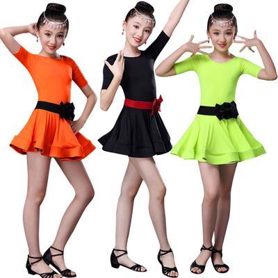 Kids Girls Latin Dance Dress Leotard Dance Costume Short Sleeve Dancewear 1PC