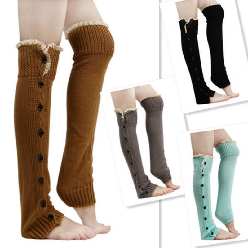Frauen Winter warm stricken hohe Knie Beinlinge häkeln Gamaschen Boot Socken Neu
