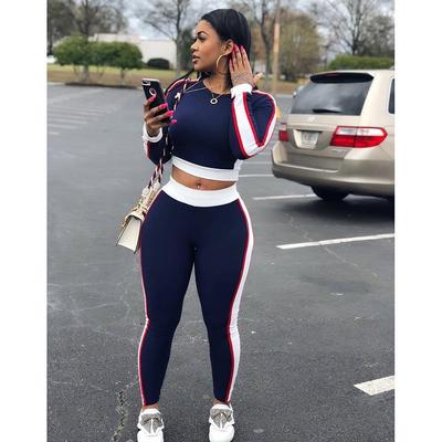 591c01be3cb314 Women's Sexy Long Sleeve Tight-fitting Thin Striped Sportswear Suit 2  Pieces Sets
