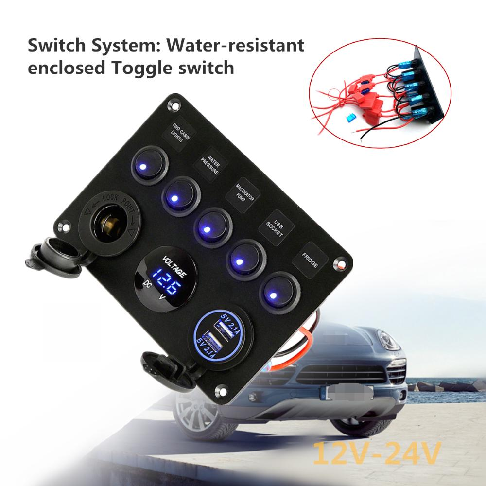 buy 12v/24v inline fuse box led rocker switch panel 5 gang marine boat  rocker switch panel with dual at affordable prices, price 46 usd — 📦free  shipping, ⭐real reviews with photos — joom  joom