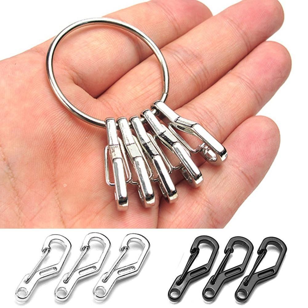 10x Mini Karabinerhaken Snap Clip Aluminium Schlüsselbund Schlüsselanhänger NEU
