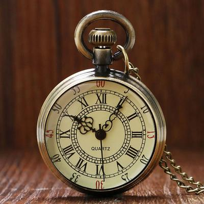 f0e586df27f5 Bronce antiguo romano números Marque el reloj de bolsillo collar colgante  regalo Unisex