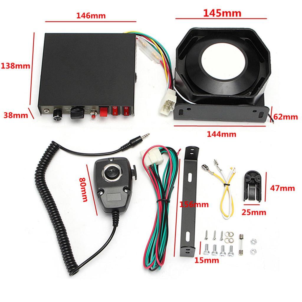 200W 9-Sound Tones Loud Car Warning Alarm Police Siren Horn Speaker MIC System