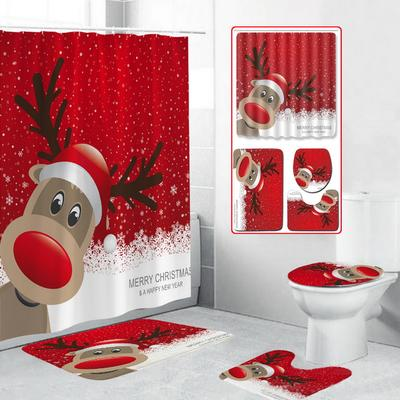 A DADA Christmas Toilet Seat Cover Rug and Tank Lid Cover for Bathroom Decoration,Set of 3