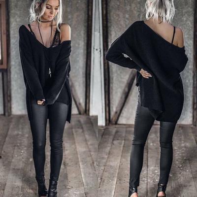7caa65430b4 Модные женские длинный рукав свободной верхней мыс вязать свитер джемпер  трикотаж