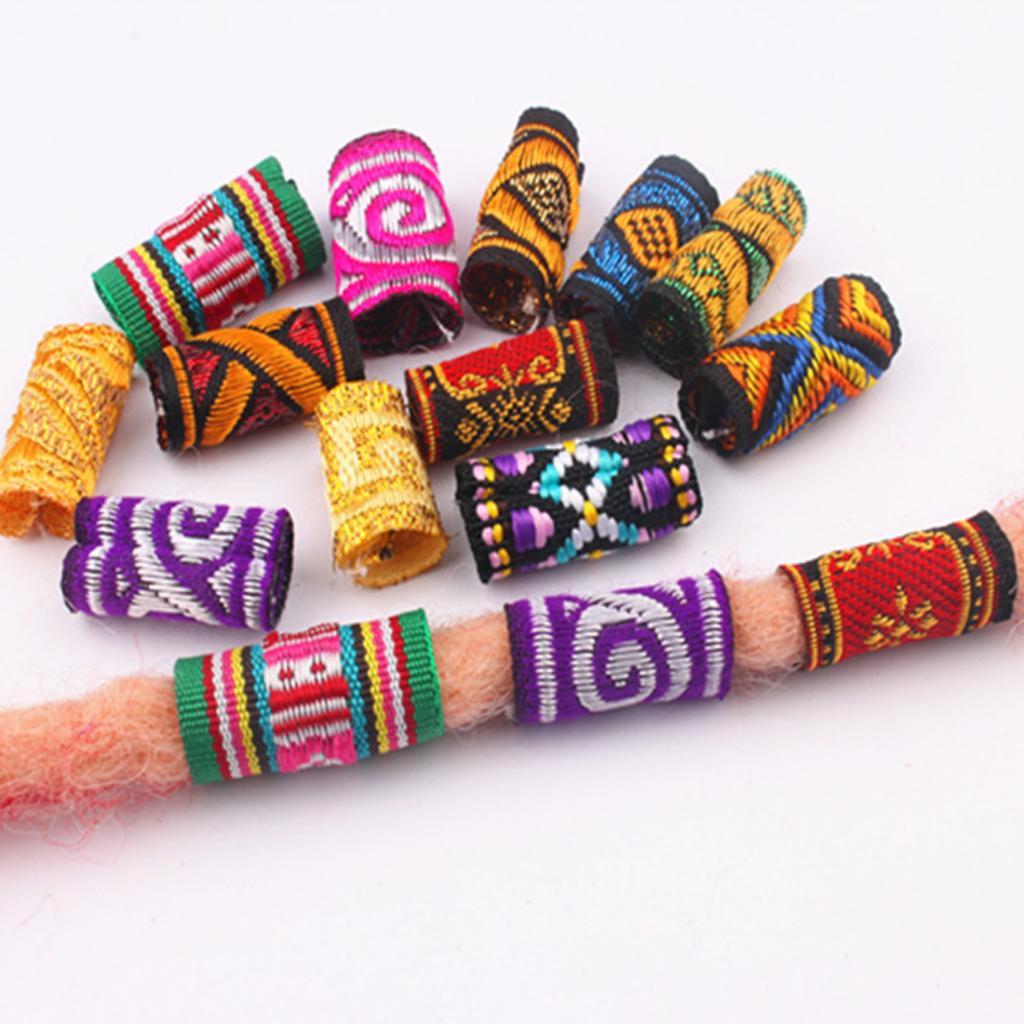 10Pcs Colorful Fabric Hair Braid Dreadlock Beads Rings Tube Jewelry Accessories