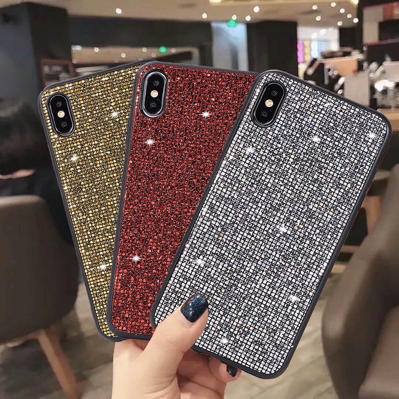Мода Блестящий квадратный телефон Дело Обложка для Samsung A30s A51 Huawei Xiaomi 10 iPhone 7 8 Плюс XS фото