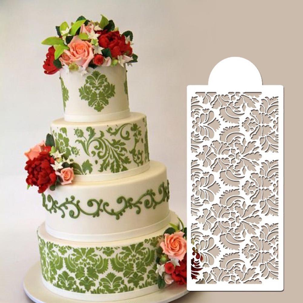 2X Cake Damask Lace Border Molud Sugarcraft Fondant Baking Mold Cupcake Stencil
