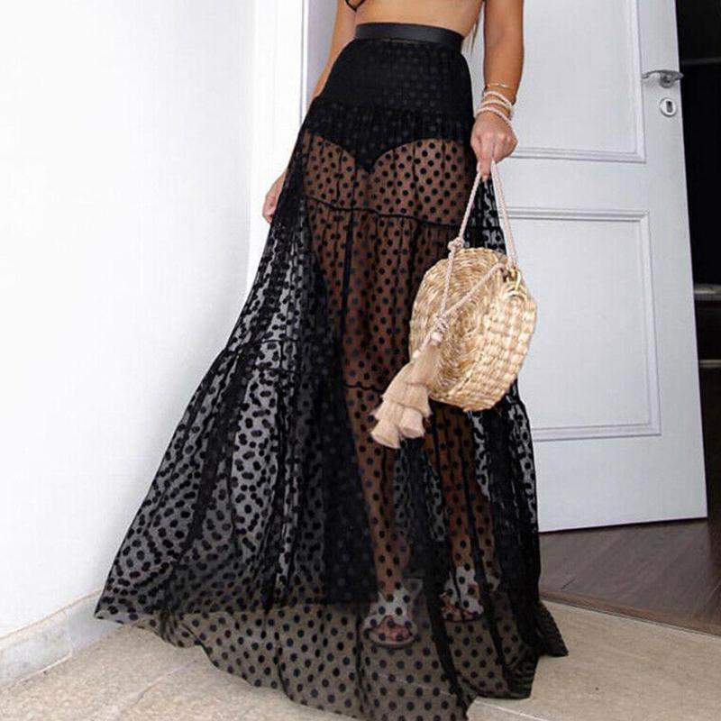 UK Summer Women Lace Floral High Waist Tiered Ruffle Beach Long Tulle Skirt