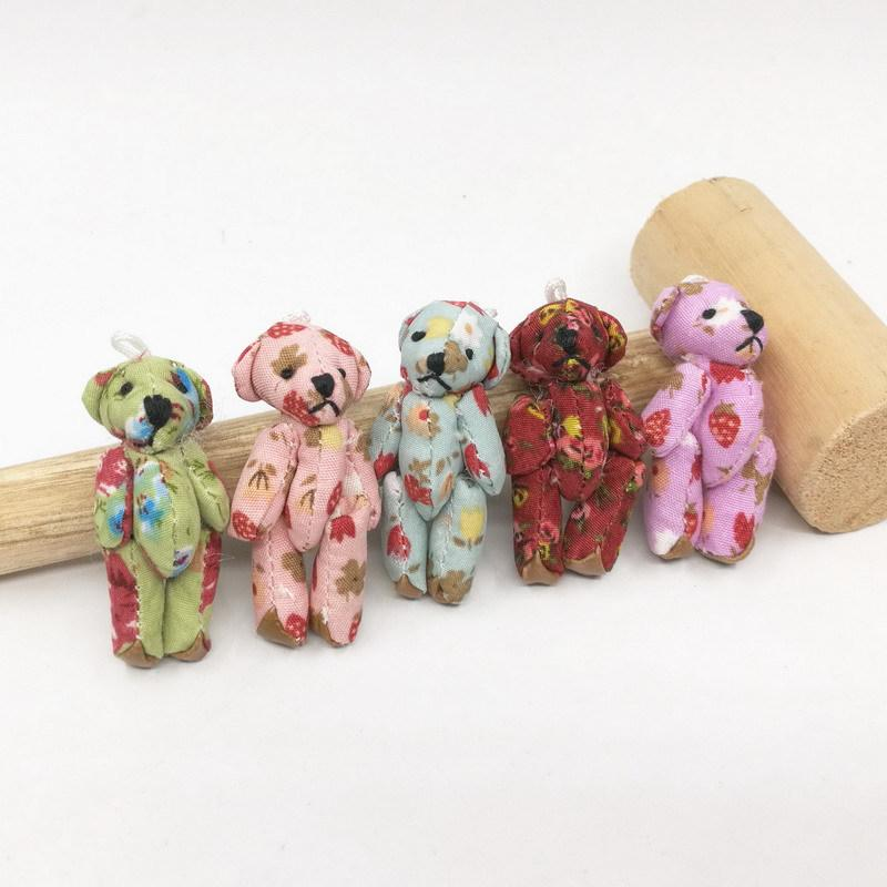 5Pcs Kawaii Mini Jointed Stuffed Bear Plush Pendant Bouquet Dolls KidsS CP9