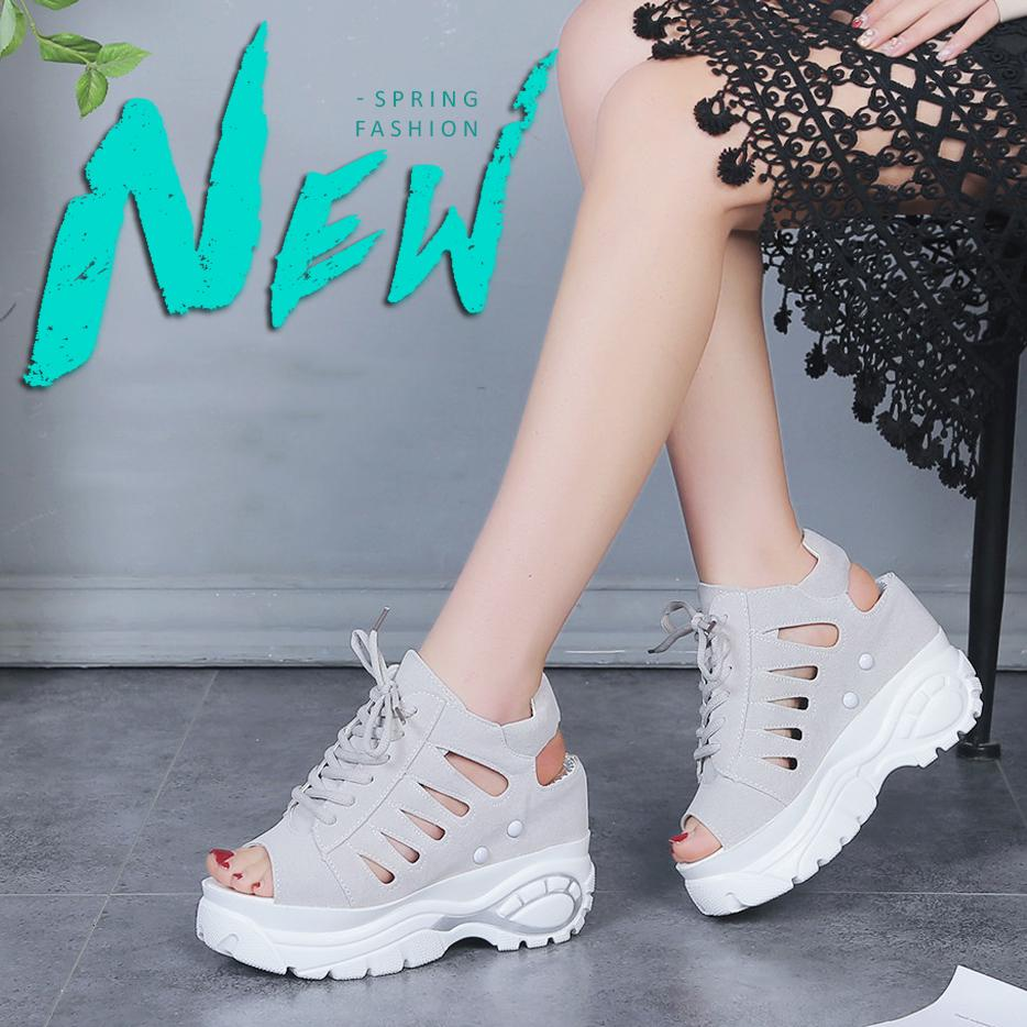 3f1fab20a79 Raised Sandals Women Slope Platform Shoes Summer Women's Casual Shoes  Air-permeable Fish-mouth Shoes