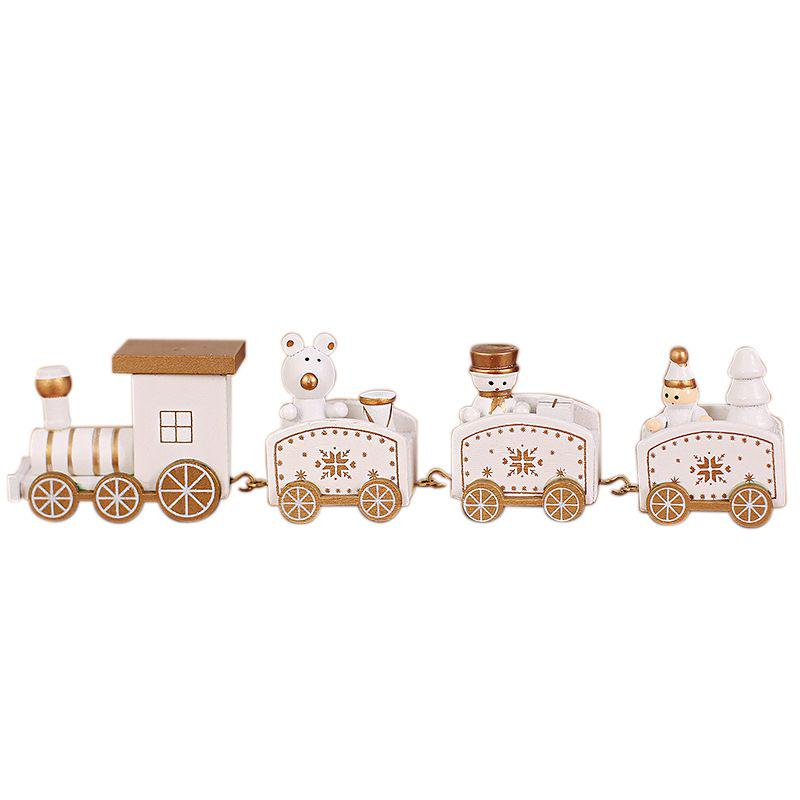 YaptheS Wooden Mini Craft Christmas Train Ornaments Wooden Train Decor Mini Garden Accessories Home Decoration Gifts for Children-Green