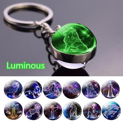 12 Constellation Luminous Keychain Glass Ball Pendant Zodiac Keychain  Key Chain Holder Men Women Birthday Gift