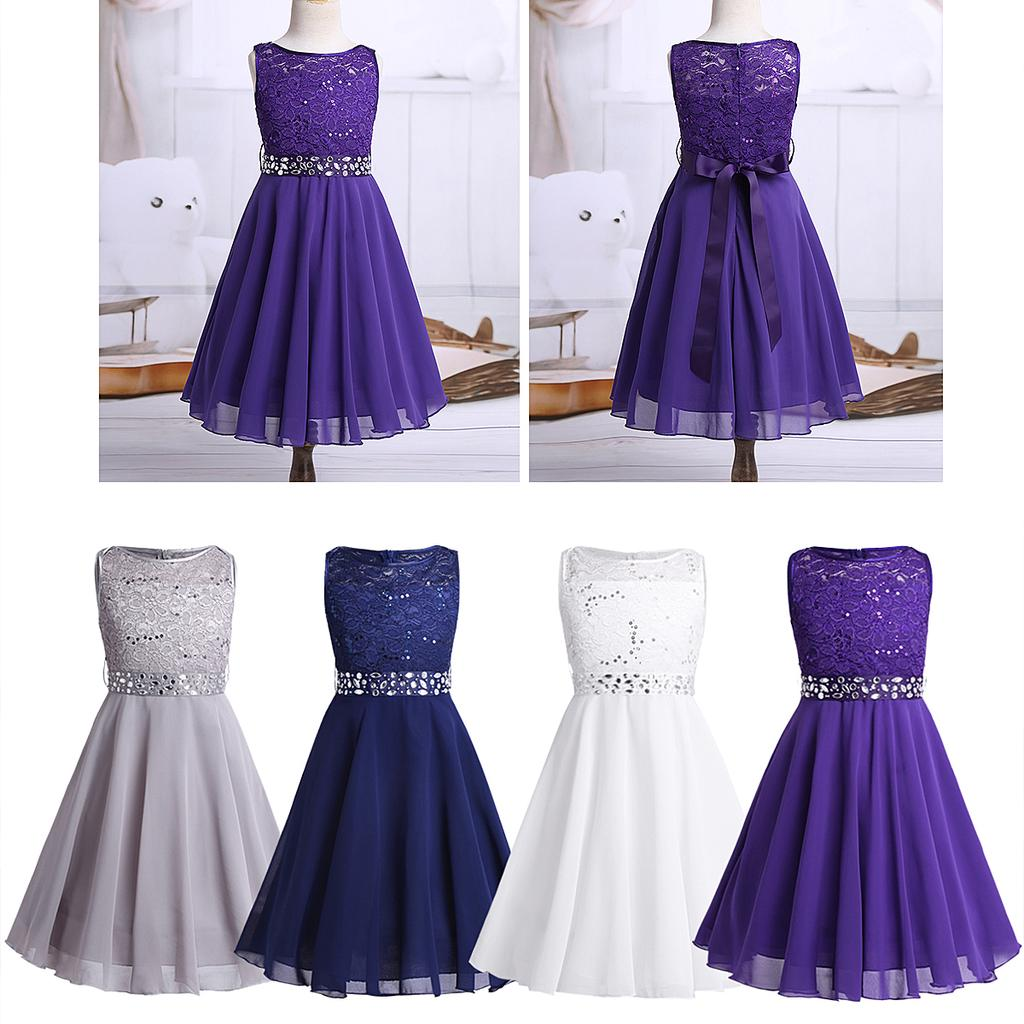 iiniim Girls Sequined Lace Chiffon Sleeveless Flower Girl Dress Wedding Princess Pageant Bridesmaid Birthday Party Dresses