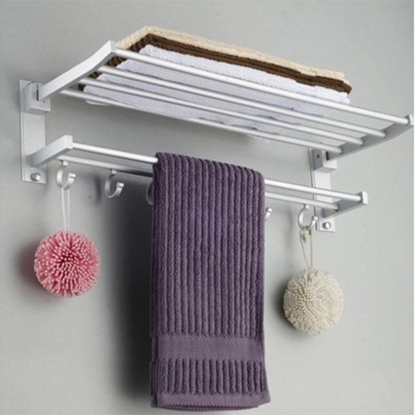 太空铝毛巾架 浴巾架 双层折叠 活动浴室卫生间置物架亚博国际官方下载批发