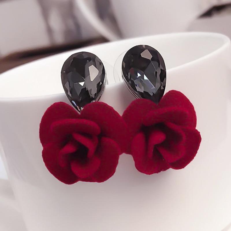 Цветок Стад Серьги классические капли воды Кристалл Красная Роза Серьга для женщин ювелирные изделия Bijoux фото