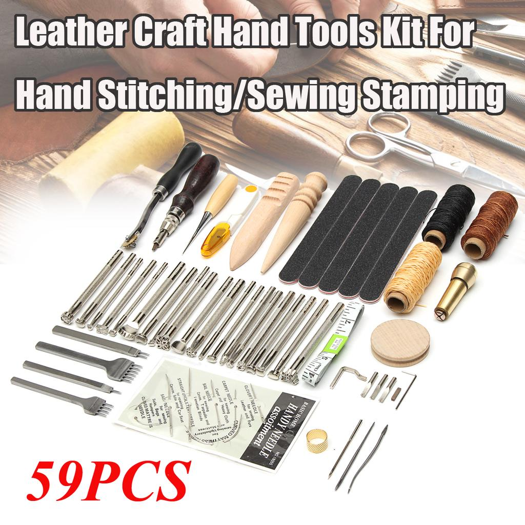 59pcs Leather Craft Tools Hand Sewing Stitching Leather Stamping Working Kit DIY