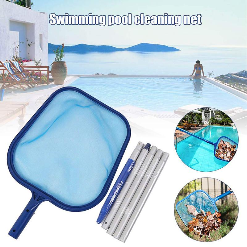 Swimming Pool Leaf Skimmer Net 5 Connecting Aluminum Pole Sections Fine  Mesh for Ponds