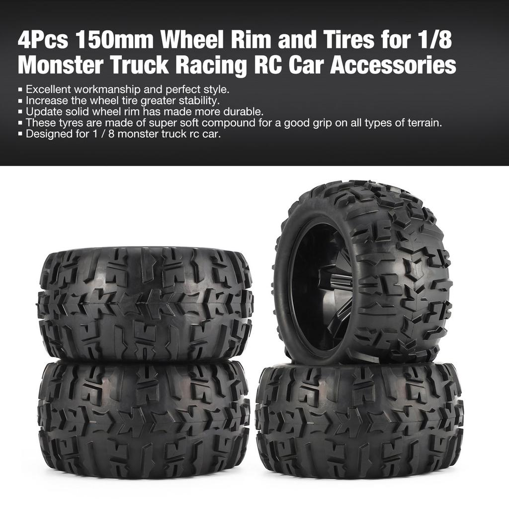 4pcs OD 140MM Black Cube Design Rubber Tires For RC1:8 Truck Spare Parts New