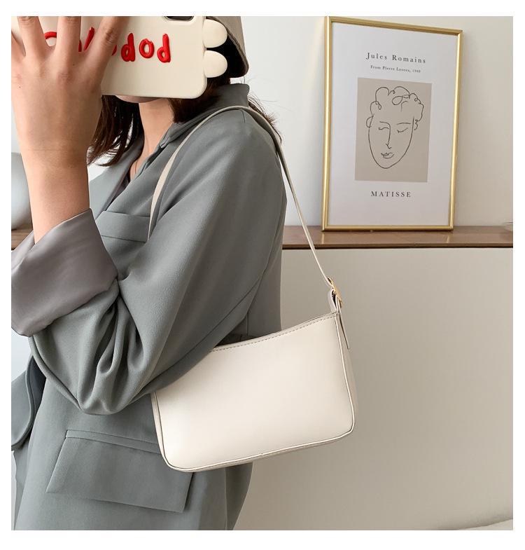 Small Mini Real Leather Single Shoulder Bag Purse Baguette Vintage Top Handle