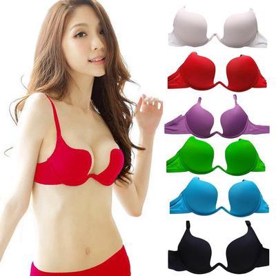 2698f27063 Women Deep U Push Up Sexy Lingerie Backless Bra Brassiere Underwear