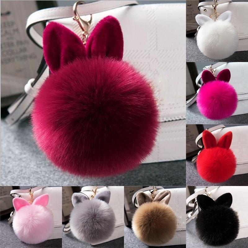 Baby Pink 8mm Real Rabbit Fur Bag Charm Chain Ring Pompom Keyring UK Seller