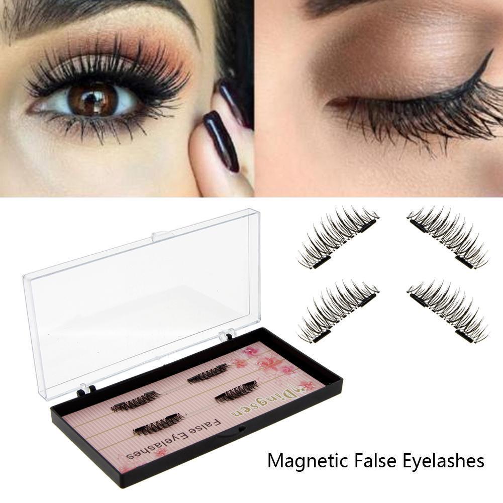 60b9205362d 4pcs Women Reusable 3D Double Magnetic Long Natural False Eye Lashes ...