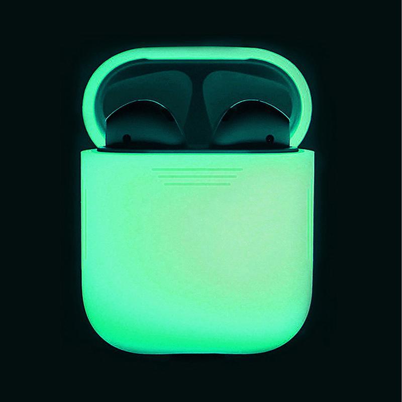 Силиконовый шок Доказательство Защитное дело свечение в темной портативной гарнитуры держатель оболочки для Apple AirPods фото