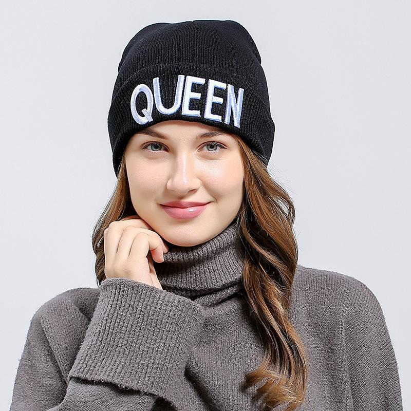 8d376d4a32cbb Fashion Women Knitted Cap Beanies Hat Skullies King Queen Fashion ...