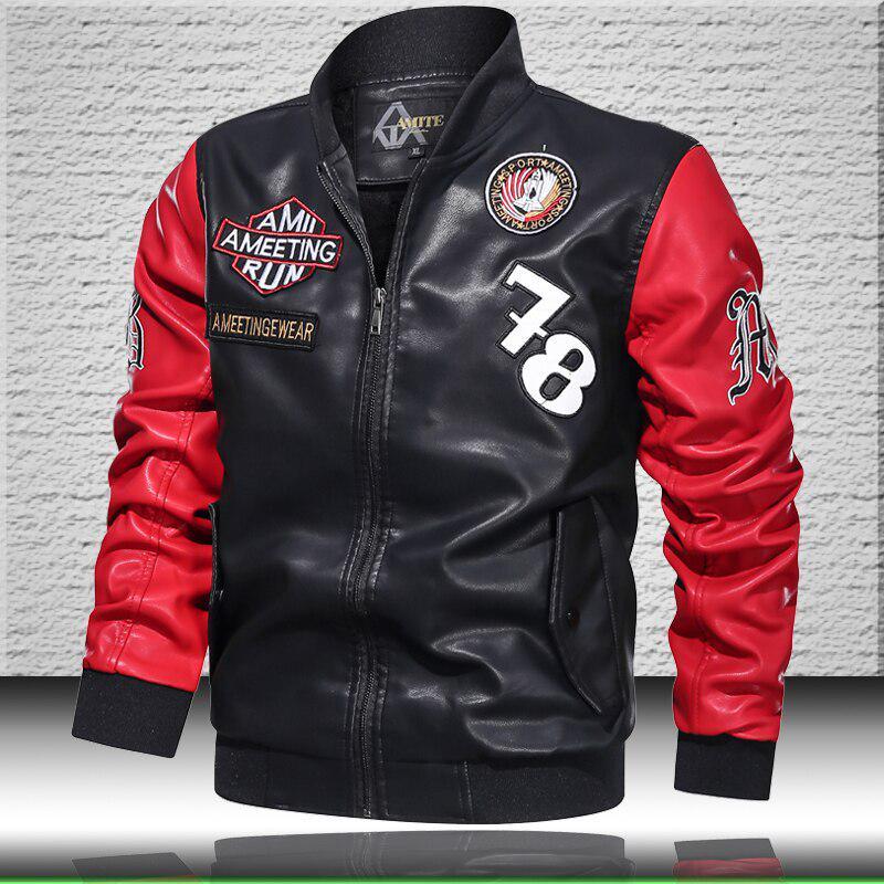 Вышитая кожаная куртка мужская куртка синтетическая кожа мотоциклетная мужская кожа, шерстяная куртка-бомбер зимняя мужская купить недорого — выгодные цены, бесплатная доставка, реальные отзывы с фото — Joom