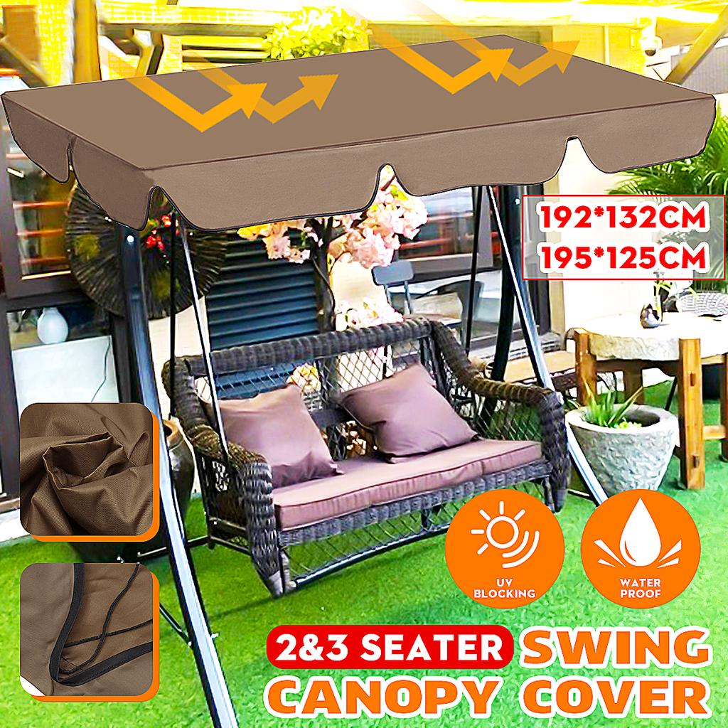 Patio Outdoor Swing Cushion Cover Canopy Replacement Swing Seat Cover Waterproof Sunproof Dustproof Protection for 3 Seater Swing Chair