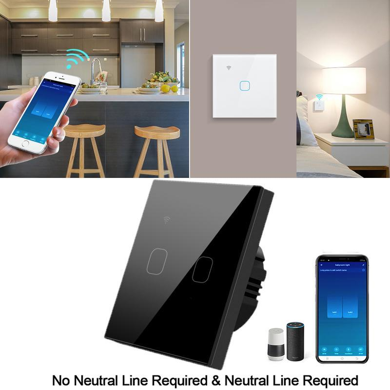 Wifi Wall Touch Switch Eu No Neutral Wire Required Smart Light Switch 1 2 3 Gang 220v Tuya Smart Home Support Alexa Google Home Buy From 18 On Joom E Commerce Platform