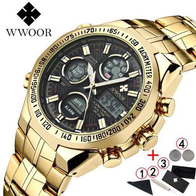 WWOOR Watch Men 2020 Top Brand Luxury Big Dial Men's Gold Wrist Watches Quartz Waterproof LED Digital Watch