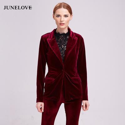 a211c851355a JuneLove Fashion Velvet Blazer Coat Women Autumn Warm Ladies Jacket One  Button Turn-down Collar