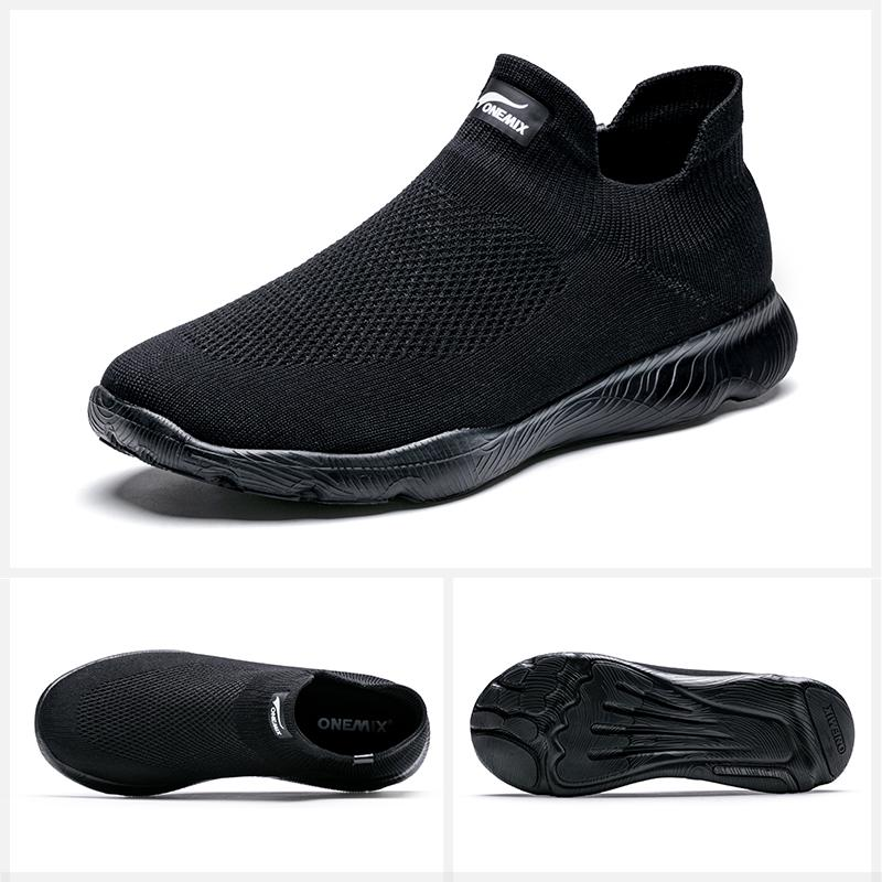ONEMIX Men Socks Shoes Sneaker Breathable Mesh Trainers Lightweight Slip On Walking Running Shoes